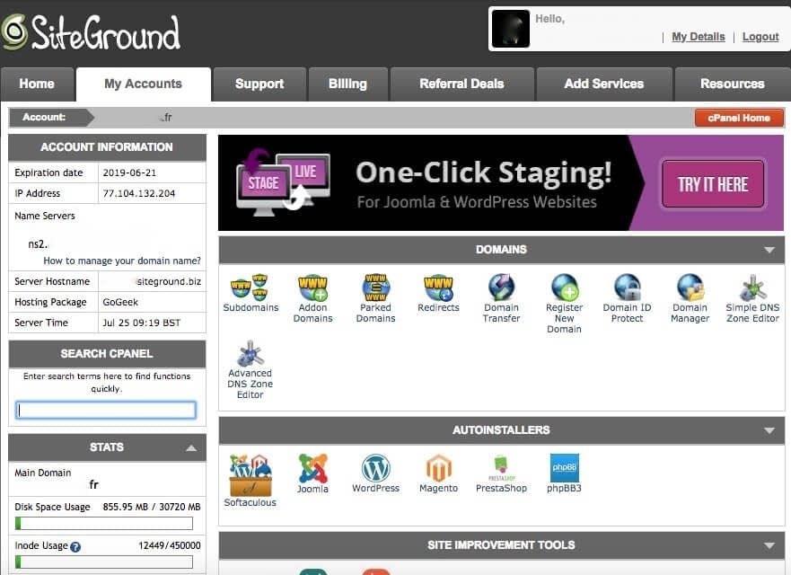cPanel SiteGround - Linkinet